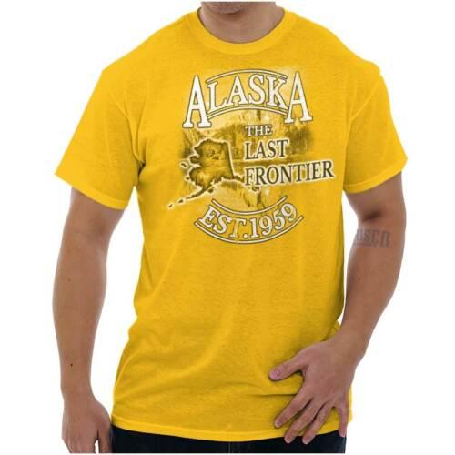 Alaska The Last Frontier Est 1959 Map Tourist Short Sleeve T-Shirt Tees Tshirts