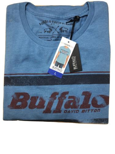 Buffalo David Bitton Mens Blue Graphic Tee T-Shirt Crew LARGE NWT