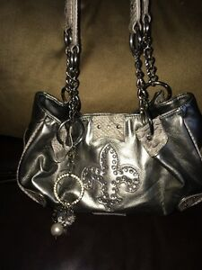 M.C. Marc Chantal Faux Leather Silver Purse Rhinestones ...