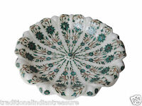 White Marble Fruit Bowl Real Gem Malachite Mosaic Floral Arts Inlay Table Decor
