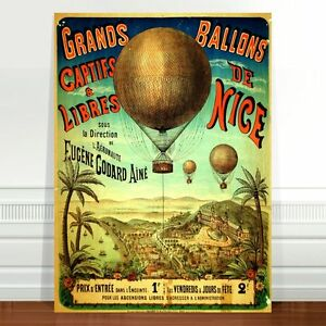 "Vintage Balloon Travel Poster CANVAS PRINT 24x18"" Grand Ballons France"