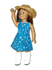 """4pc  Blue Cowgirl Outfit 18"""" Doll Clothes fits American Girl Dress"""
