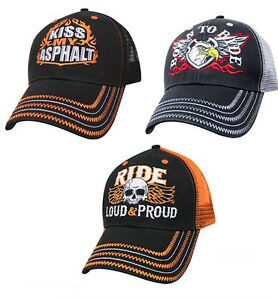 Mesh-Back-Biker-Hat-Motorcycle-Trucker-Cap-Born-to-Ride-Kiss-Asphalt-Loud-Proud