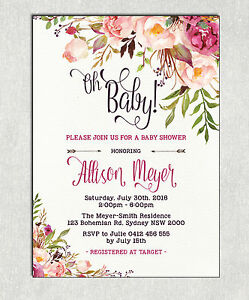 Details About Boho Baby Shower Invitation Rustic Invite Bohemian Brunch Shabby Chic High Tea