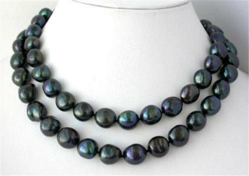 """NEW 48/"""" 8-9mm nature baroque black freshwater pearl necklace AAA"""