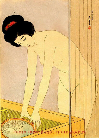 "Nude Woman Washing Face 8.5x11"" Photo Print Classical Japan Woodblock Hashiguchi"