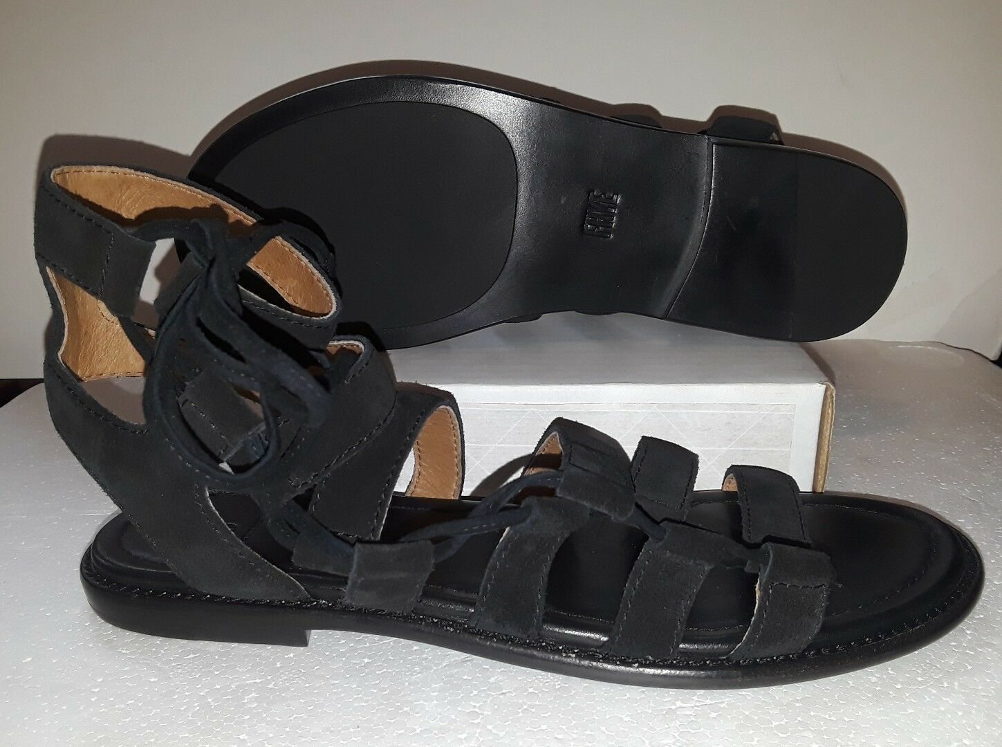 FRYE WOMEN'S BLAIR SLIDE GHILLIE GLADIATOR BLACK SUEDE SANDAL 3470224  SZ: 5.5M