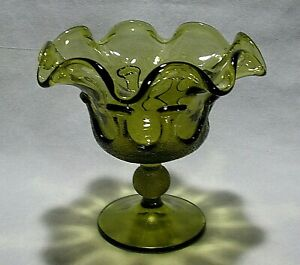 VTG-OLIVE-AVOCADO-GREEN-GLASS-RUFFLED-COMPOTE-CANDY-DISH