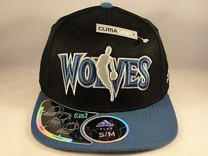 NBA Minnesota Timberwolves Adidas Size S M Flex Hat Cap Black Blue ... 13518f18885