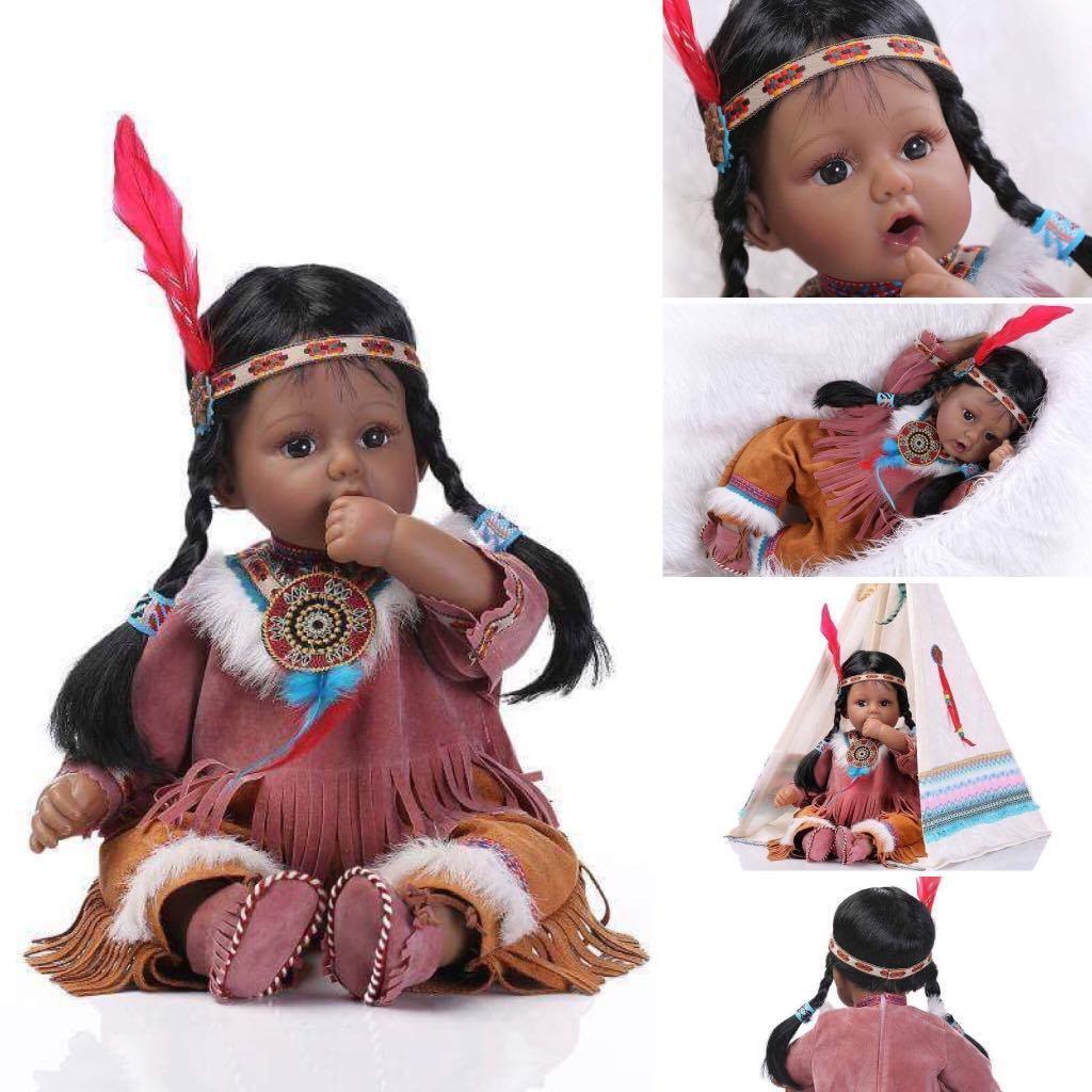 American Indian Muñecas Reborn Bebé Niñas Muñeca realista realista vivo hecho a mano