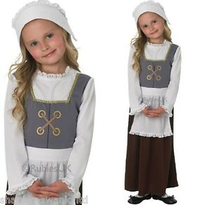 Girls-Tudor-Victorian-Poor-Peasant-Maid-Girl-Book-Day-Fancy-Dress-Costume-Outfit