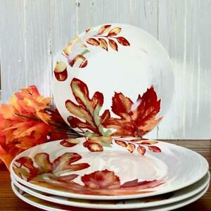 Royal Norfolk Dinner Plates Fall Leaves and Acorns Thanksgiving Set of 4 New