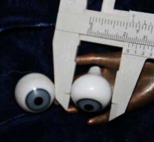 "Antique pair blue blown glass Doll Eyes diameter c 13//16/"" 21mm Germany Lauscha"