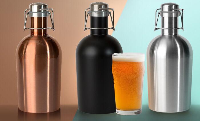ASOBU New Stainless Steel Beer Growler 64oz 1.9L Bottle SS Large Metal Growlers