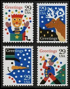 #2791-2794 29c Navidad: Tarjetas, Individuales, Nuevo Cualquier 5=
