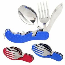 Outdoor Survival Pocket 3in1 Stainless Steel Camping Fork Spoon Knife Multi Tool
