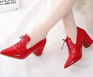 Patent-Leather-Women-039-s-Shoes-Pointy-Toe-Block-Heel-Casual-pumps-Hot-Lace-up-new