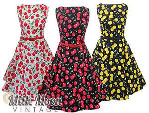 New-Vintage-1950s-Style-Cherry-Print-Pattern-Swing-Circle-Party-Dress-Plus-Size