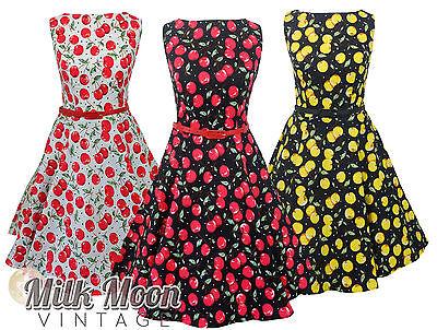New Vintage 1950s Style Cherry Print Pattern Swing Circle Party Dress Plus Size