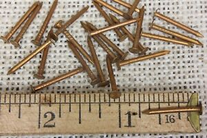 """25 old COPPER PLATED TACKS 3//8"""" nails vintage sharp point round head carpet"""