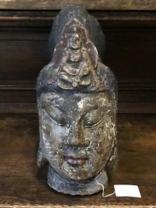 Trendmarkierung China Antiquitäten & Kunst Kopf Des Guanyin Massiver Stein Qing-dynastie 18/19 Jhdt 38cm Mit Den Modernsten GeräTen Und Techniken