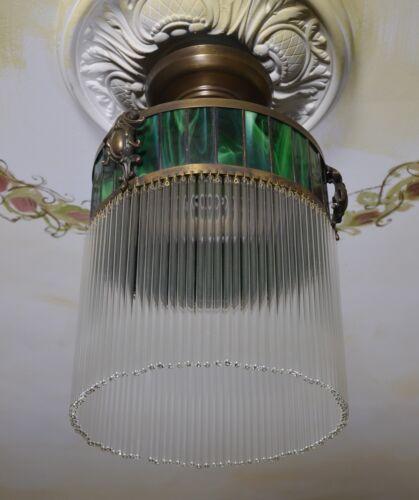 Art Deco Deckenlampe Hängelampe Lampe Glas 30er Leuchte 40er Jahre Messing Bauh