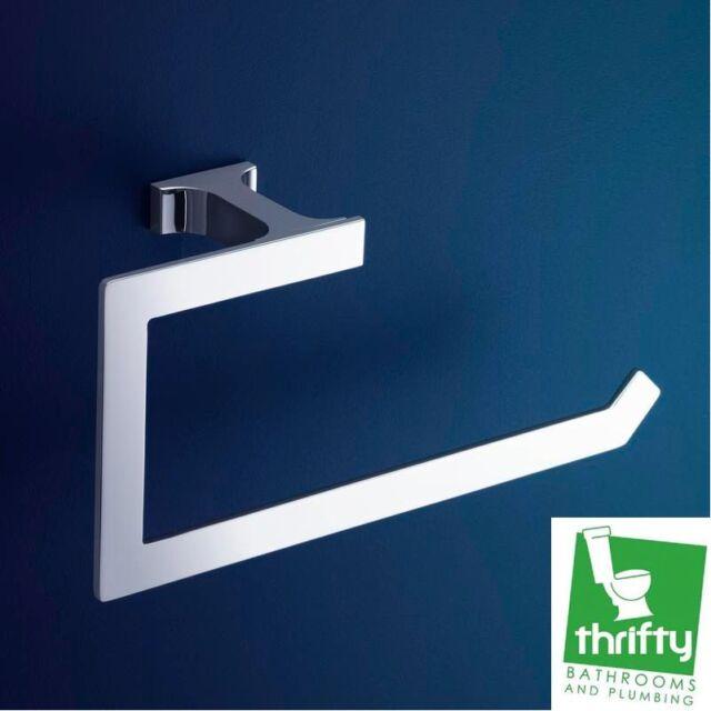 New Dorf Jovian Square Bathroom Hand Towel Ring Chrome Plated Brass