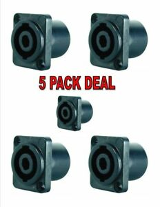 4-Pole-Female-Cable-connector-SpeakON-Chassis-Mount-X-1098-5-Pack-Deal