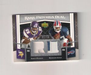 Details About Adrian Peterson Rookie Card 2007 Ud Rare Patches Dual Marshawn Lynch Sd 150
