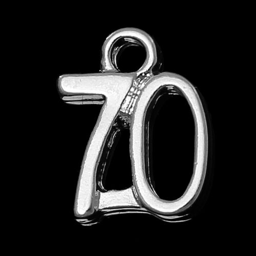 N9 10 SILVER PLATE NUMBER 70 CHARM//PENDANTS 12mm Birthday~Wine Glass Charms