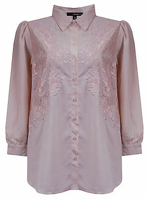 WOMENS NUDE EMBROIDERED PLUS SIZE EVENING PARTY SHIRT BLOUSE TOP SIZE 14 - 32