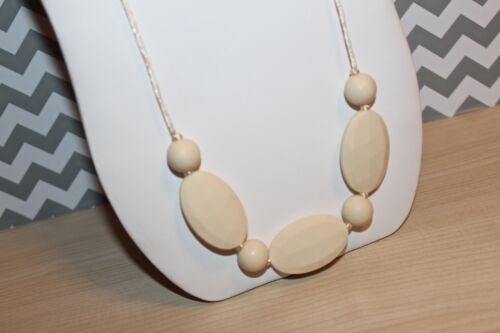 Silicone Baby Teether Teething Necklace Nursing Jewelry Beige Ivory US Fast Ship