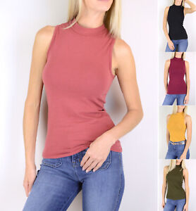 Women-039-s-Mock-Turtle-Neck-Sleeveless-Top-Stretch-Cotton-Knit-Solid-Plain-Basic
