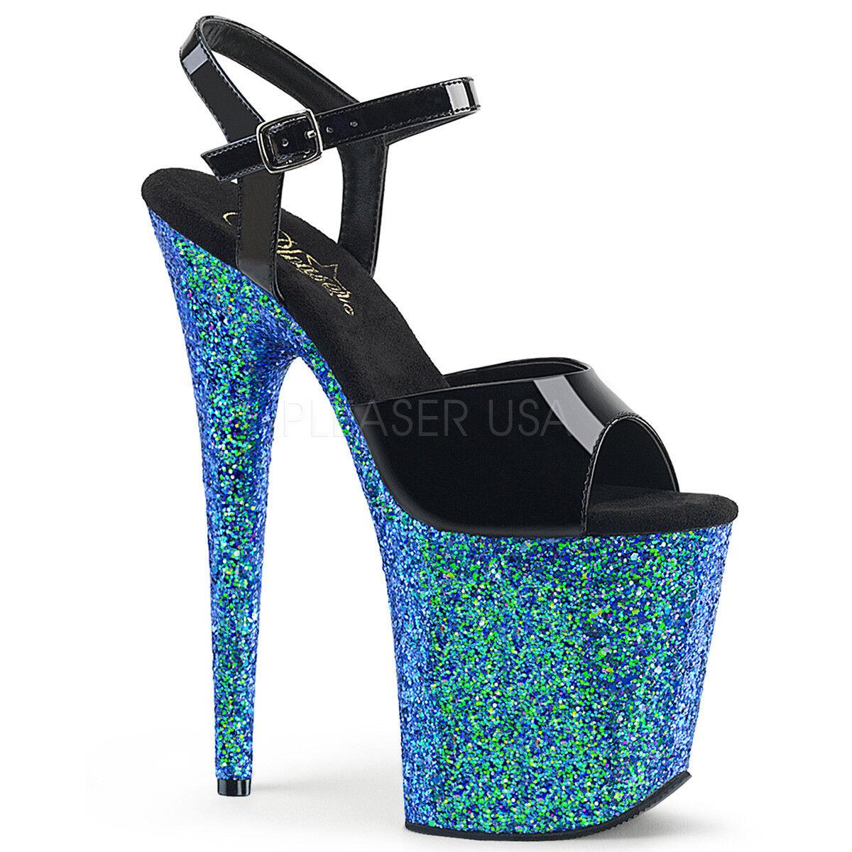 Pleaser FLAMINGO-809LG Platform Ankle Strap Heel Sandale Holographic Glitters 8