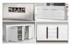Image Is Loading White Gloss Sideboard Lounge Dining Room Furniture Buffet