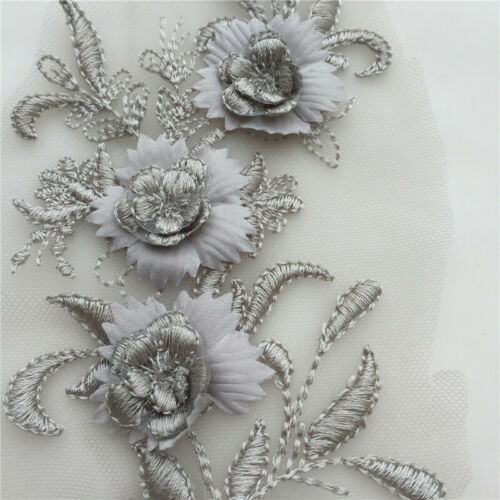 1pc Flower Lace Embroidery Bridal Applique Beaded Tulle DIY Wedding Dress Decor