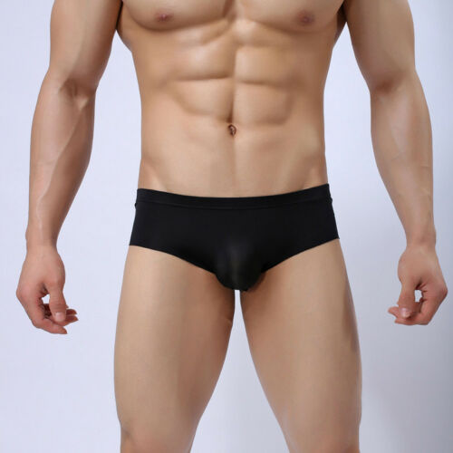Mens Soft Ice Silk Briefs Boxer Low Rise Breathable Smooth Underwear Underpant R