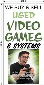 2-039-X-4-039-VINYL-BANNER-WE-BUY-AND-SELL-USED-VIDEO-GAMES-AND-SYSTEMS-VERTICAL-FUN