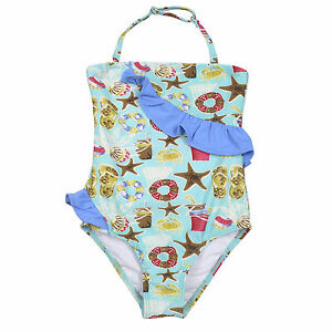 e51e73b203d Image is loading Elfindollkids-Girls-Ruffle-Swimwear-Overall-in-Blue-Pink-