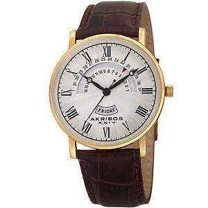 New-Men-039-s-Akribos-XXIV-AK898YG-Classy-Day-amp-Date-Silver-Dial-Brown-Leather-Watch