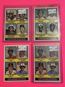 1976-Topps-Baseball-Card-ROOKIE-RC-LOT-X4-WILLIE-RANDOLPH-LEMON-FLANAGAN