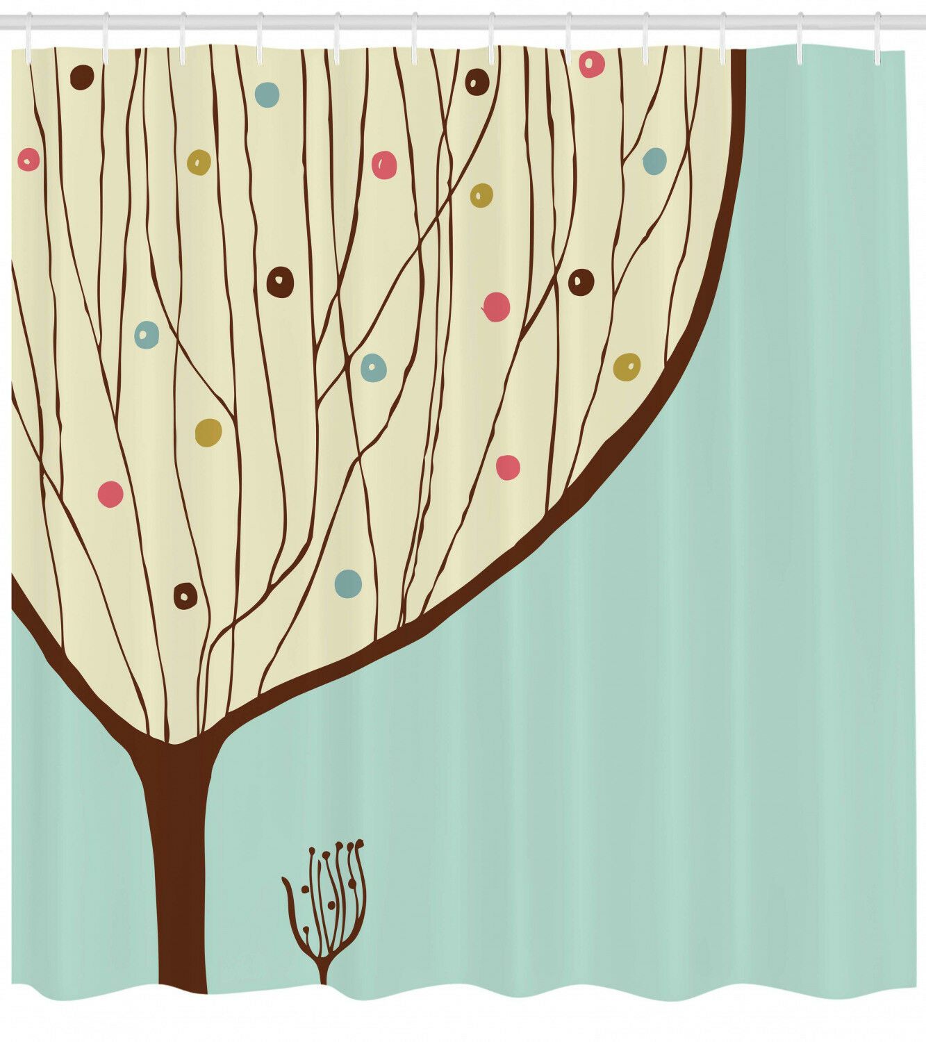 Cartoon Shower Curtain Aqua Hand Drawn Tree Print For Bathroom D83a0a