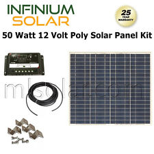 50w 50 Watts 12V Poly Solar Cell Kit RV Solar Panel PV Charger Boat Off Grid
