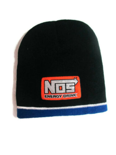 NOS Knit Beanie Black with Orange Patch And Blue Trim BRAND NEW
