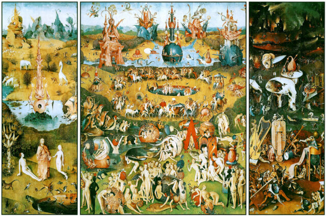 Hieronymus Bosch The Garden Of Earthly Delights Triptych3 Panel Antique Picture For Sale Online Ebay
