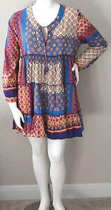 Velzera-Boho-Bohemian-Tie-Front-Empire-Waist-Tiered-Tunic-Dress-Plus-1XL-New