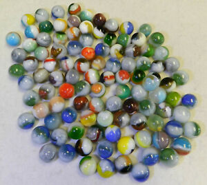 9873m 100 Mixed Vitro Agate Marbles Vintage Group or Bulk Lot .56 to .66 Inches