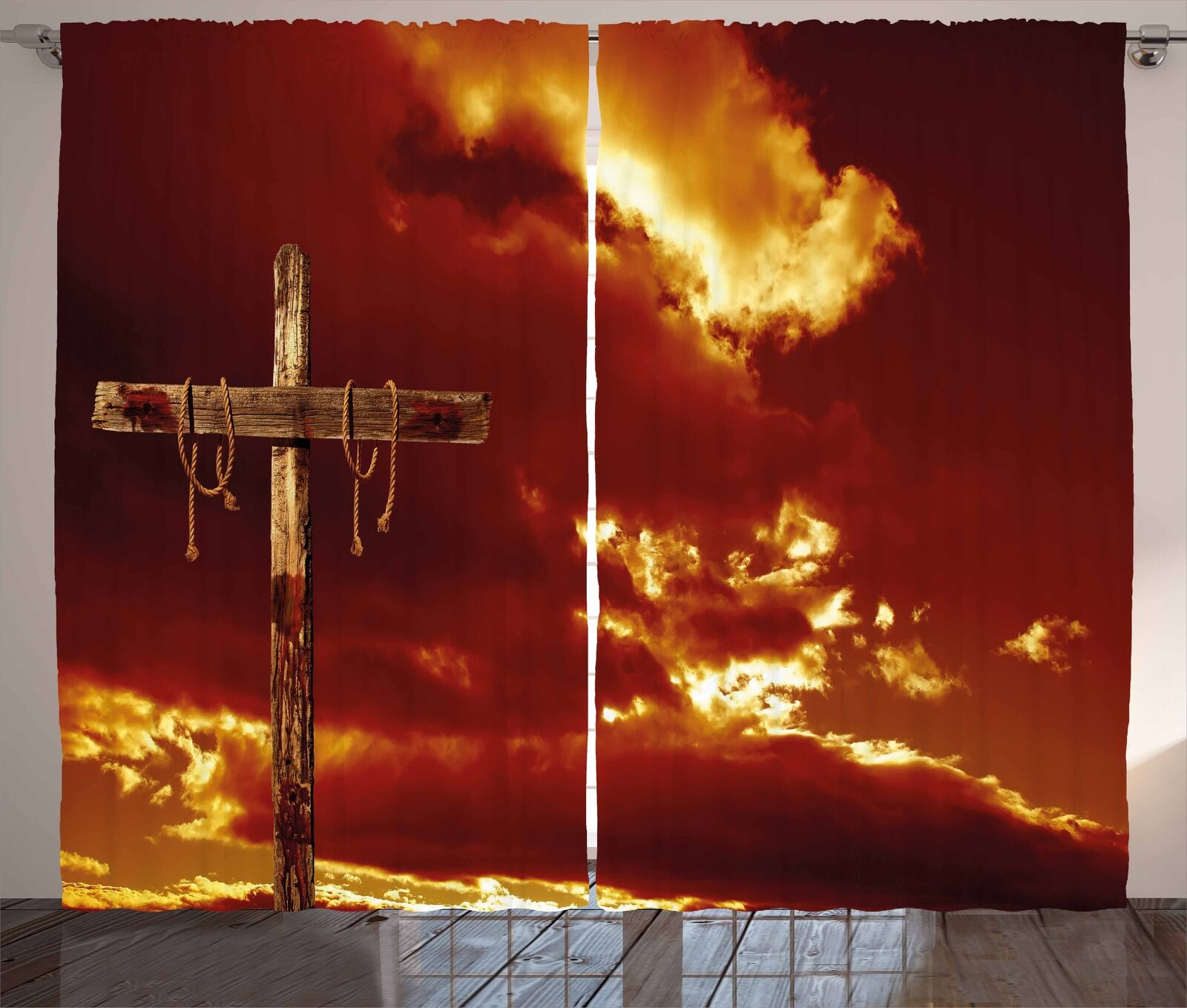 Religious Curtains Empty Cross Messiah Window Drapes 2 Panel Set 108x90 Inches