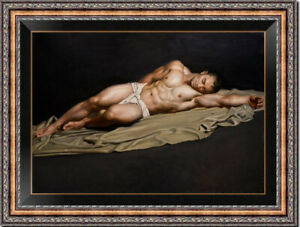 "Hand painted Original Oil Painting art Portrait man male nude on canvas 24""x36"""