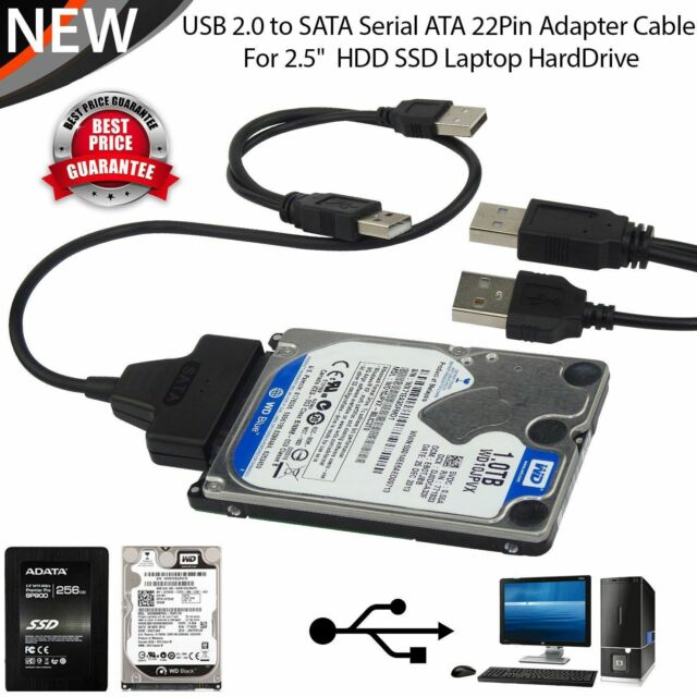 SATA to USB 2.0 Cable Adapter for 2.5 HDD SSD Hard Drive Connnector 22 Pin 7+15 SATA 1 2 3 External Conventer